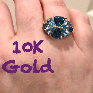 10K Gold boho ring w/ turquoise / blue stones VTG